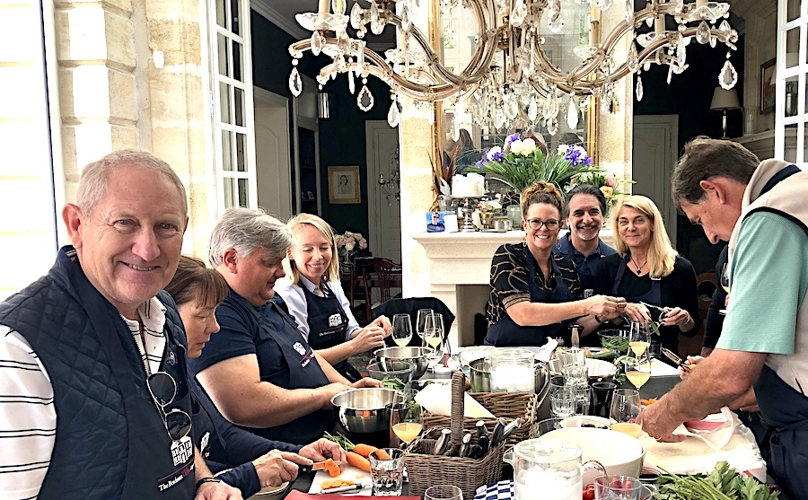 Cooking class in the kitchen of Chateau Coulon Laurensac on the 2019 Bordeaux Grand Cru Harvest Tour 2 is an unforgettable experience