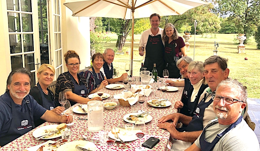 Lunch on the patio of Chateau Coulon Laurensac on the 2019 Bordeaux Grand Cru Harvest Tour 2 is an unforgettable experience