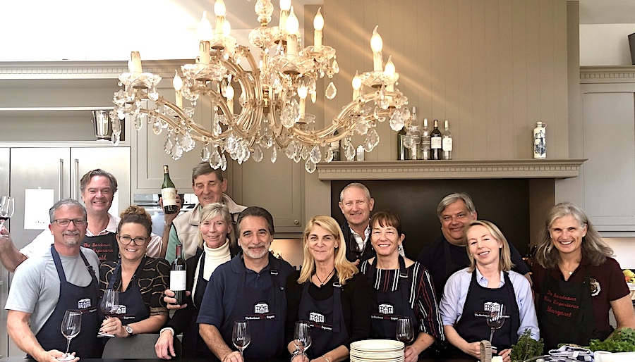 Cooking class in the kitchen of Chateau Coulon Laurensac on the 2019 Bordeaux Grand Cru Harvest Tour 2 is great fun!