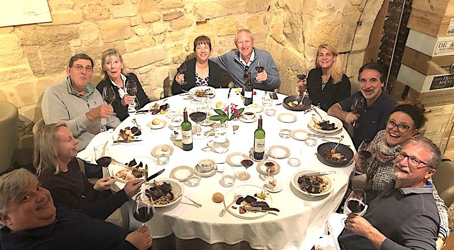 The 2019 Bordeaux Grand Cru Harvest Tour 2 enjoying a lovely lunch in Saint Emilion