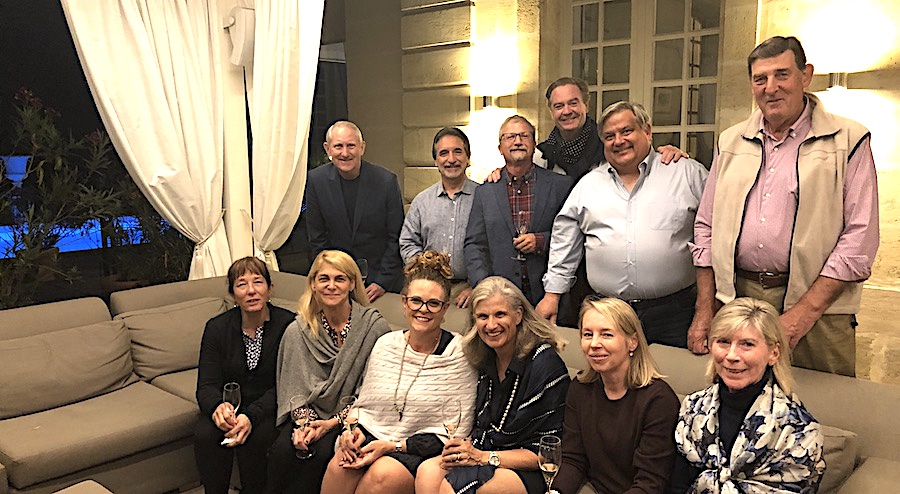 The 2019 Bordeaux Grand Cru Harvest Tour 2 enjoying pre-dinner Champagne at Chateau Coulon Laurensac