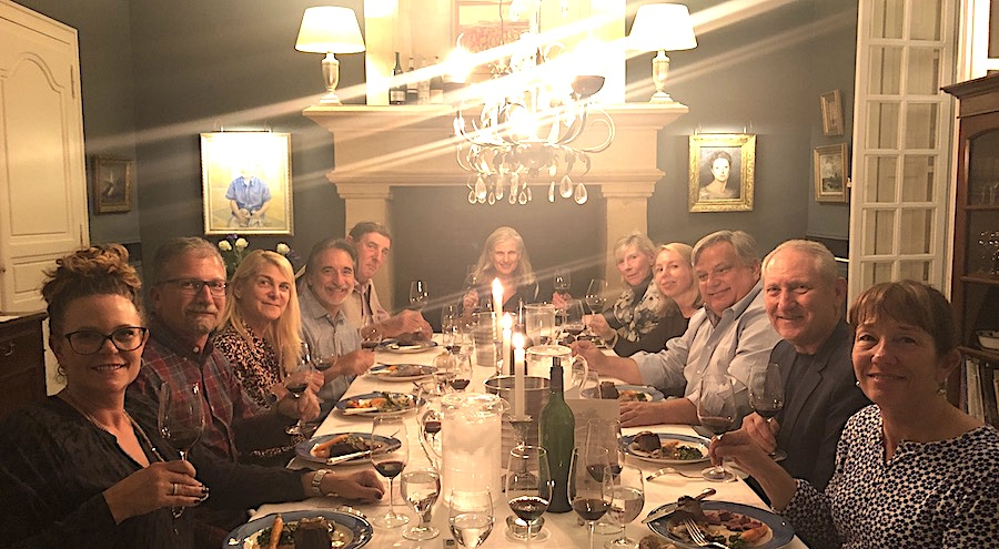 The 2019 Bordeaux Grand Cru Harvest Tour 2 enjoying First Growths at the Farewell dinner at Chateau Coulon Laurensac