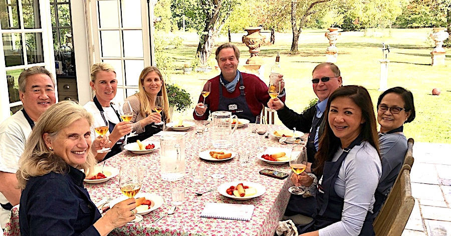 Lunch on the patio of Chateau Coulon Laurensac on the 2019 Bordeaux Grand Cru Harvest Tour 3 is an unforgettable experience