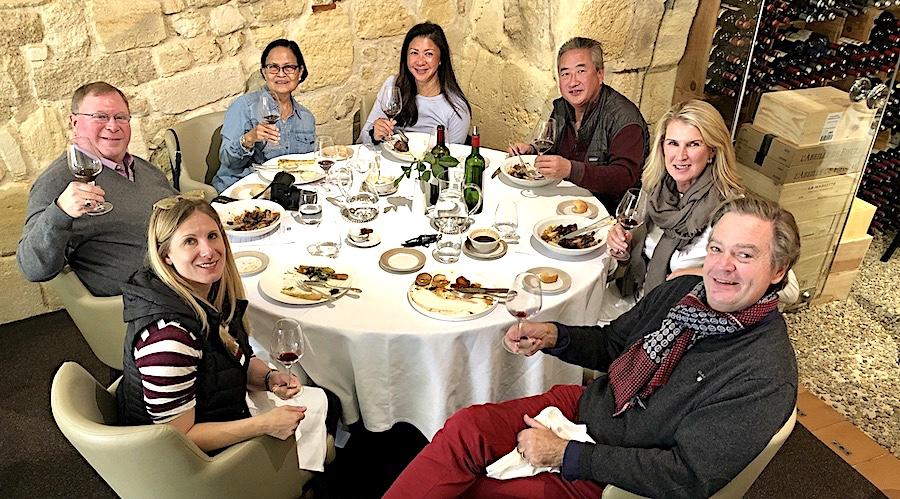 The 2019 Bordeaux Grand Cru Harvest Tour 3 enjoying a lovely lunch in Saint Emilion
