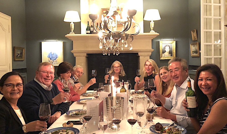 The 2019 Bordeaux Grand Cru Harvest Tour 3 enjoying First Growths at the Farewell dinner at Chateau Coulon Laurensac