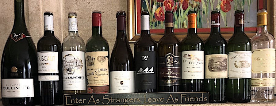 Wines tasted on the 2019 Bordeaux Grand Cru Harvest Tour 3 at the Farewell dinner at Coulon Laurensac